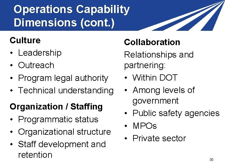 Operations Capability Dimensions (cont. ) Culture • Leadership • Outreach • Program legal authority