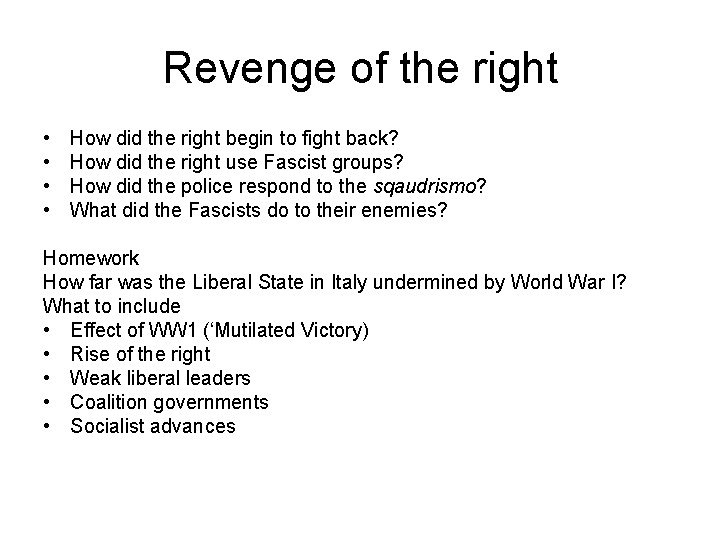 Revenge of the right • • How did the right begin to fight back?