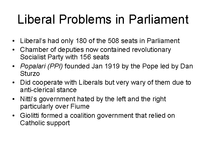Liberal Problems in Parliament • Liberal's had only 180 of the 508 seats in