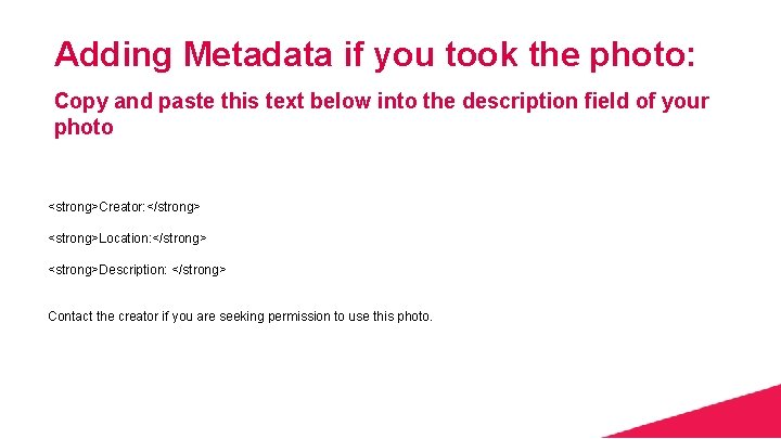 Adding Metadata if you took the photo: Copy and paste this text below into