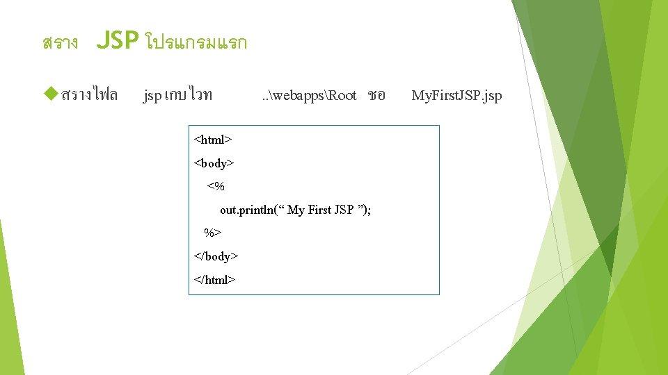สราง JSP โปรแกรมแรก สรางไฟล jsp เกบไวท . . webappsRoot ชอ My. First. JSP. jsp