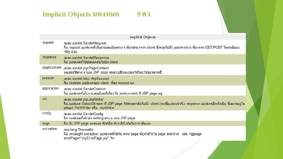 Implicit Objects มทงหมด 9 ตว