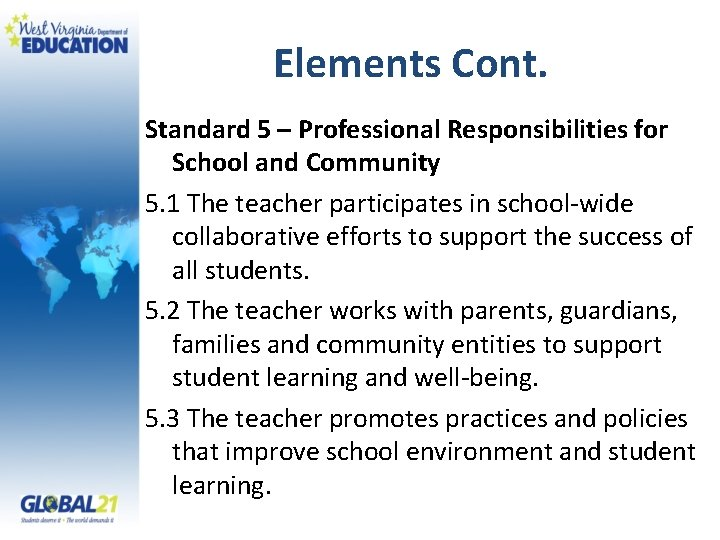 Elements Cont. Standard 5 – Professional Responsibilities for School and Community 5. 1 The