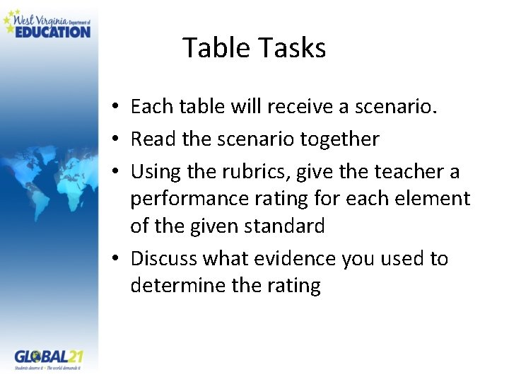 Table Tasks • Each table will receive a scenario. • Read the scenario together