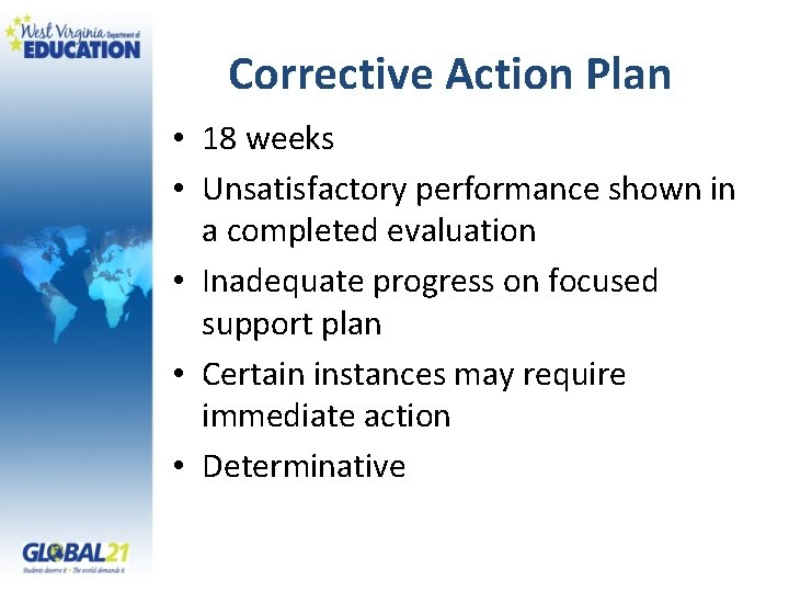 Corrective Action Plan • 18 weeks • Unsatisfactory performance shown in a completed evaluation