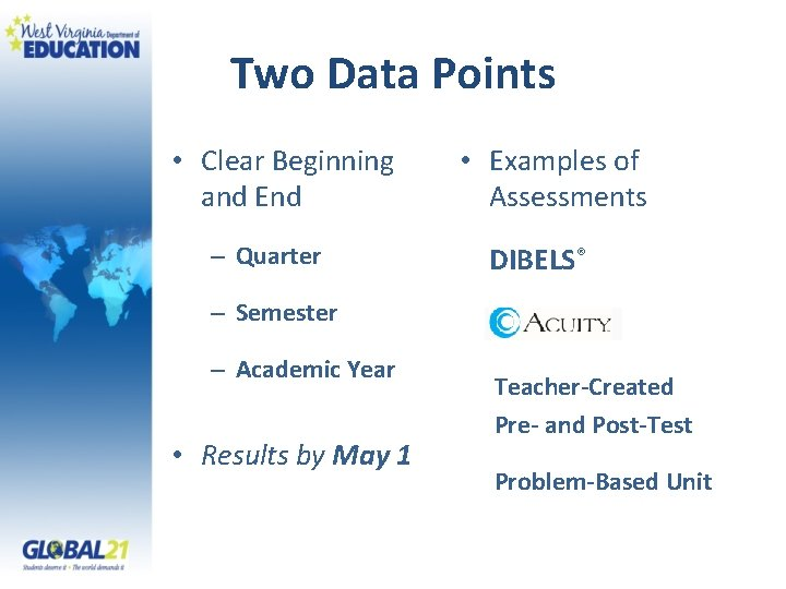 Two Data Points • Clear Beginning and End – Quarter • Examples of Assessments