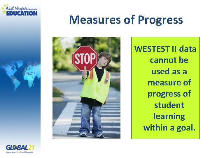 Measures of Progress WESTEST II data cannot be used as a measure of progress
