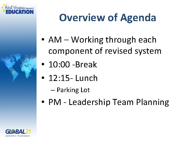 Overview of Agenda • AM – Working through each component of revised system •