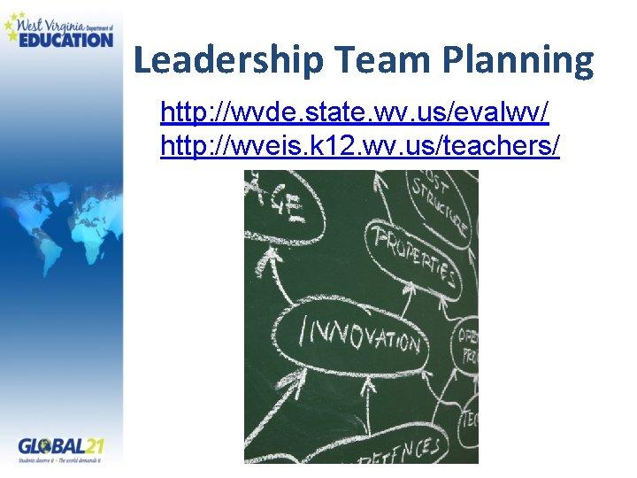 Leadership Team Planning http: //wvde. state. wv. us/evalwv/ http: //wveis. k 12. wv. us/teachers/