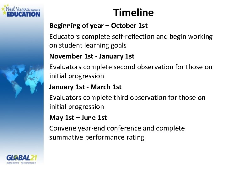 Timeline Beginning of year – October 1 st Educators complete self-reflection and begin working
