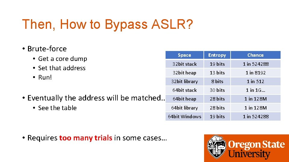 Then, How to Bypass ASLR? • Brute-force • Get a core dump • Set