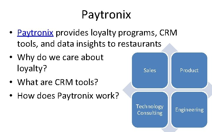 Paytronix • Paytronix provides loyalty programs, CRM tools, and data insights to restaurants •