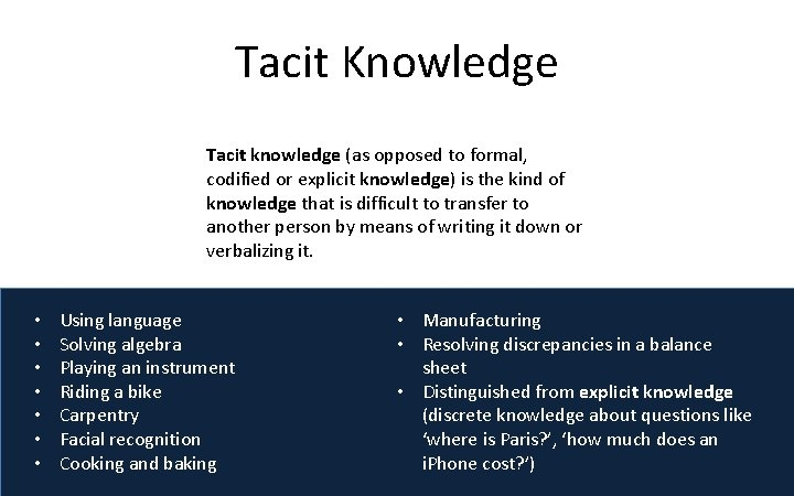 Tacit Knowledge Tacit knowledge (as opposed to formal, codified or explicit knowledge) is the
