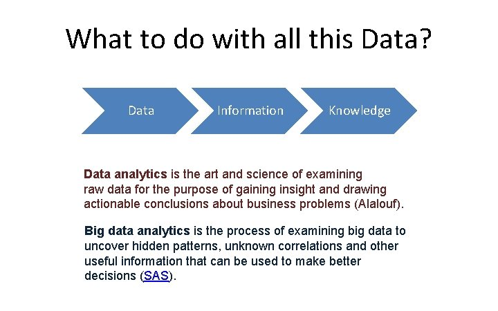 What to do with all this Data? Data Information Knowledge Data analytics is the