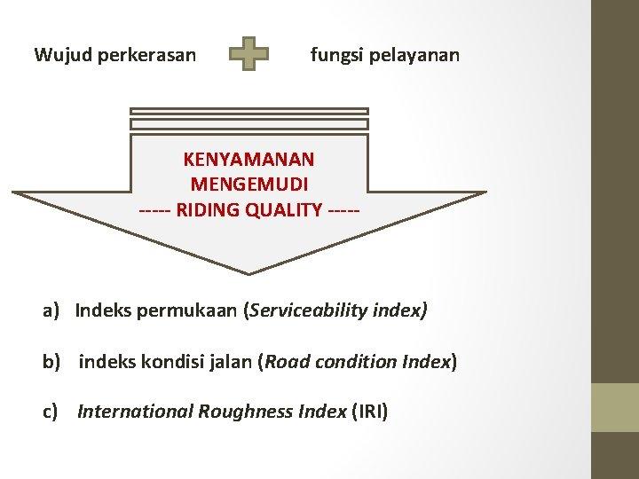 Wujud perkerasan fungsi pelayanan KENYAMANAN MENGEMUDI ----- RIDING QUALITY ----- a) Indeks permukaan (Serviceability