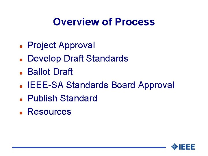 Overview of Process l l l Project Approval Develop Draft Standards Ballot Draft IEEE-SA