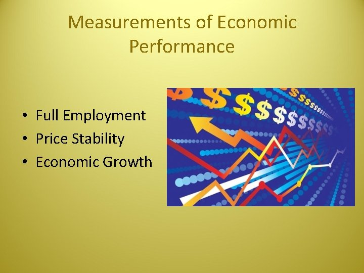 Measurements of Economic Performance • Full Employment • Price Stability • Economic Growth