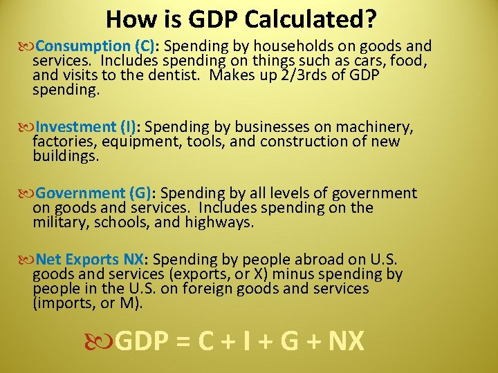 How is GDP Calculated? Consumption (C): Spending by households on goods and services. Includes