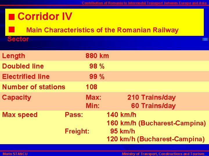 Contribution of Romania to Intermodal Transport between Europe and Asia Corridor IV Main Characteristics
