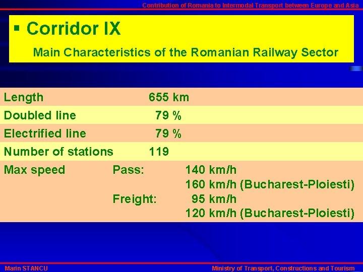 Contribution of Romania to Intermodal Transport between Europe and Asia § Corridor IX Main