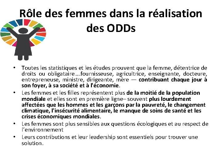 Rôle des femmes dans la réalisation des ODDs • Toutes les statistiques et les