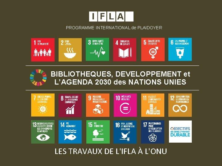 PROGRAMME INTERNATIONAL de PLAIDOYER BIBLIOTHEQUES, DEVELOPPEMENT et L'AGENDA 2030 des NATIONS UNIES LES TRAVAUX