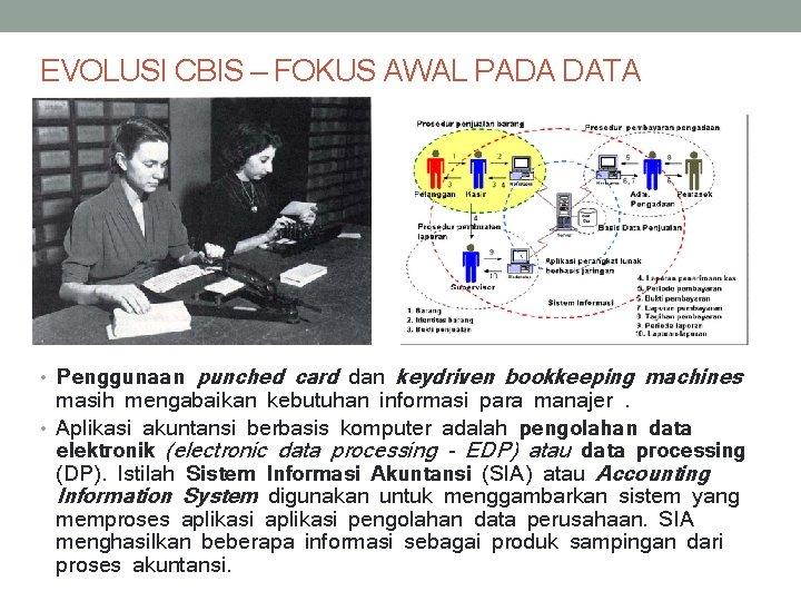 EVOLUSI CBIS – FOKUS AWAL PADA DATA • Penggunaan punched card dan keydriven bookkeeping