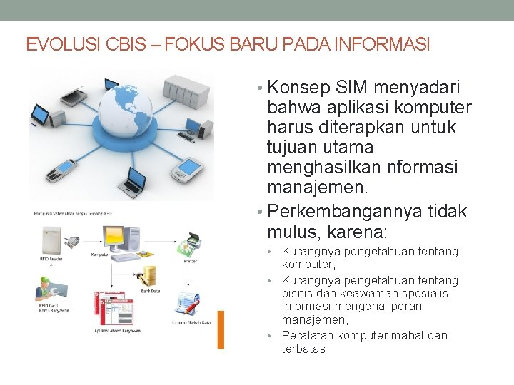 EVOLUSI CBIS – FOKUS BARU PADA INFORMASI • Konsep SIM menyadari bahwa aplikasi komputer