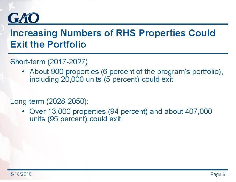Increasing Numbers of RHS Properties Could Exit the Portfolio Short-term (2017 -2027) • About