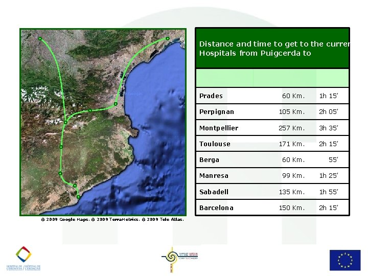 Distance and time to get to the current Hospitals from Puigcerda to Prades ©