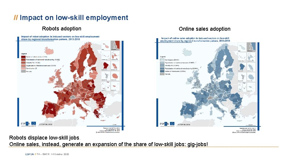 // Impact on low-skill employment Robots adoption Online sales adoption Robots displace low-skill jobs.