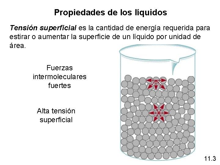 Propiedades de los líquidos Tensión superficial es la cantidad de energía requerida para estirar