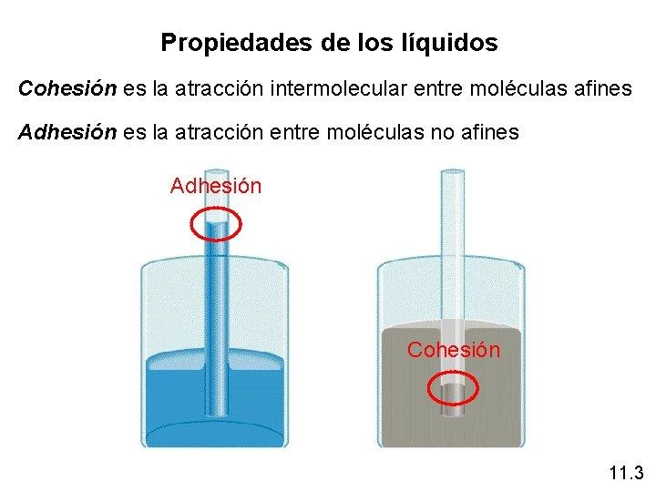 Propiedades de los líquidos Cohesión es la atracción intermolecular entre moléculas afines Adhesión es