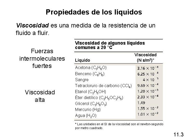 Propiedades de los líquidos Viscosidad es una medida de la resistencia de un fluido