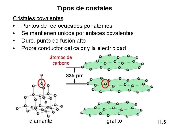 Tipos de cristales Cristales covalentes • Puntos de red ocupados por átomos • Se
