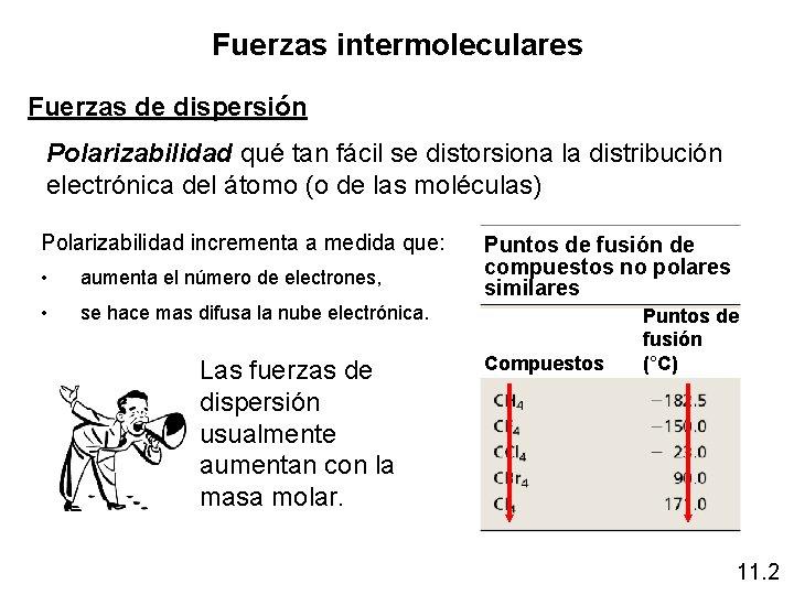 Fuerzas intermoleculares Fuerzas de dispersión Polarizabilidad qué tan fácil se distorsiona la distribución electrónica