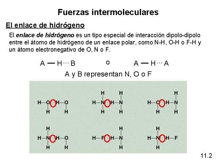 Fuerzas intermoleculares El enlace de hidrógeno es un tipo especial de interacción dipolo-dipolo entre