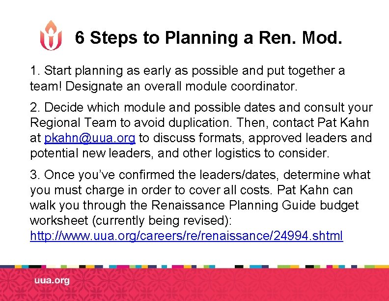 6 Steps to Planning a Ren. Mod. 1. Start planning as early as possible
