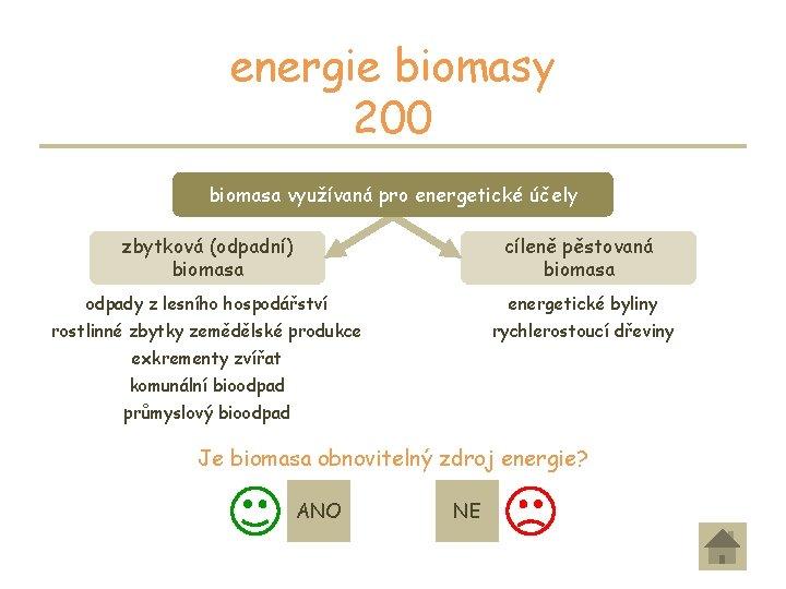 energie biomasy 200 biomasa využívaná pro energetické účely zbytková (odpadní) biomasa cíleně pěstovaná biomasa