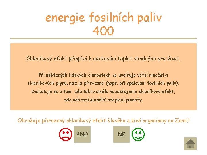 energie fosilních paliv 400 Část slunečního záření, které dopadá na planetu Zemi se odráží