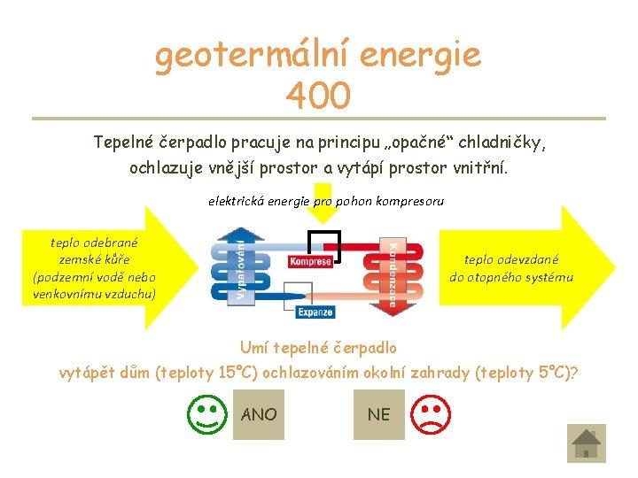 """geotermální energie 400 Tepelné čerpadlo pracuje na principu """"opačné"""" chladničky, ochlazuje vnější prostor a"""