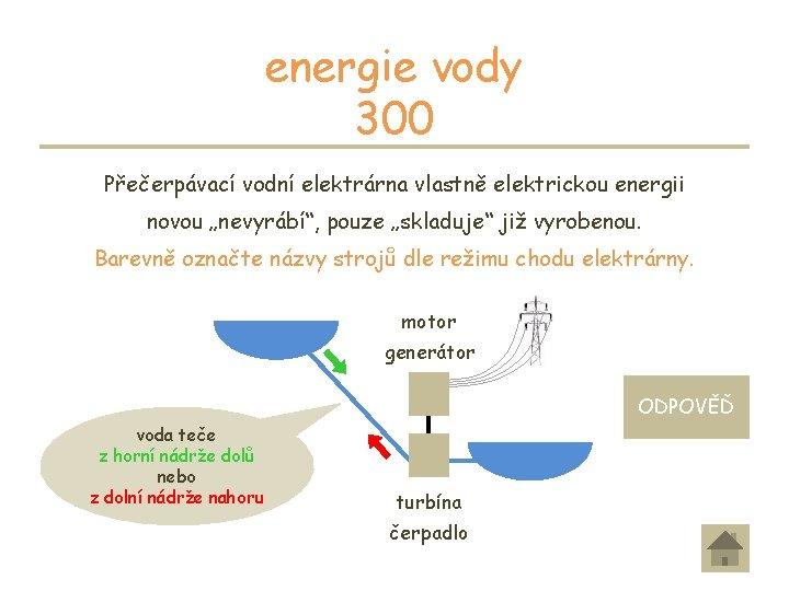 """energie vody 300 Přečerpávací vodní elektrárna vlastně elektrickou energii novou """"nevyrábí"""", pouze """"skladuje"""" již"""