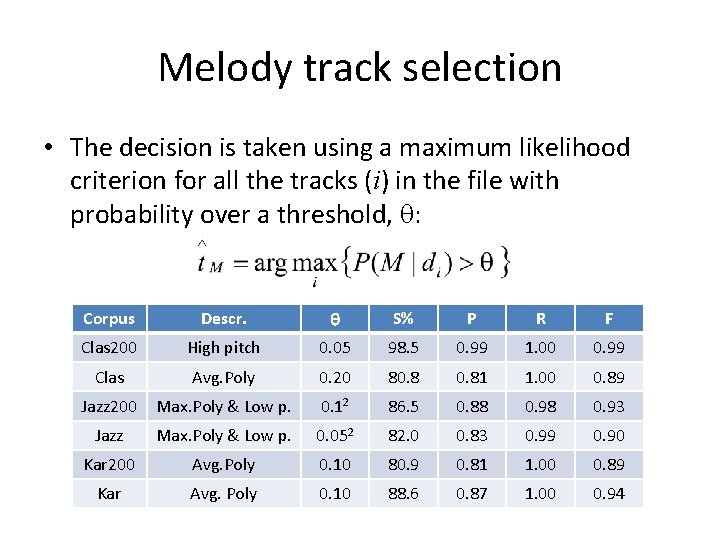Melody track selection • The decision is taken using a maximum likelihood criterion for