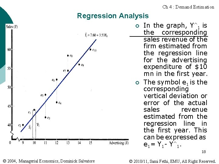 Ch 4 : Demand Estimation Regression Analysis ¡ ¡ In the graph, Y^1 is