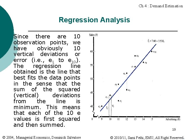Ch 4 : Demand Estimation Regression Analysis ¡ Since there are 10 observation points,