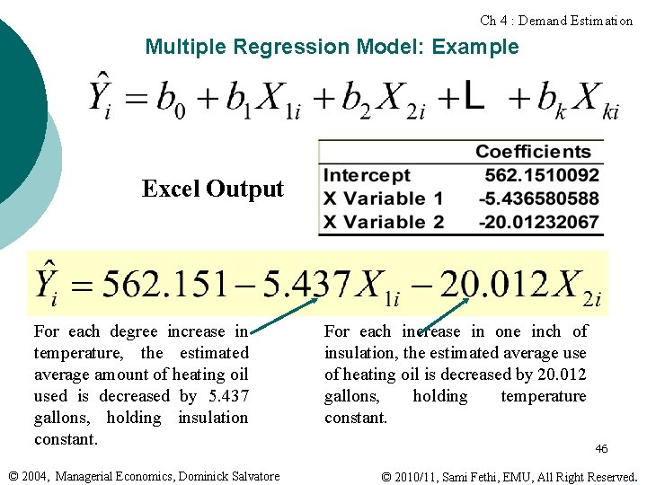 Ch 4 : Demand Estimation Multiple Regression Model: Example Excel Output For each degree