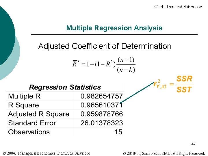 Ch 4 : Demand Estimation Multiple Regression Analysis Adjusted Coefficient of Determination 47 ©