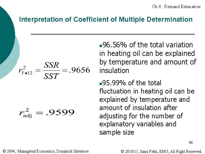 Ch 4 : Demand Estimation Interpretation of Coefficient of Multiple Determination 96. 56% of