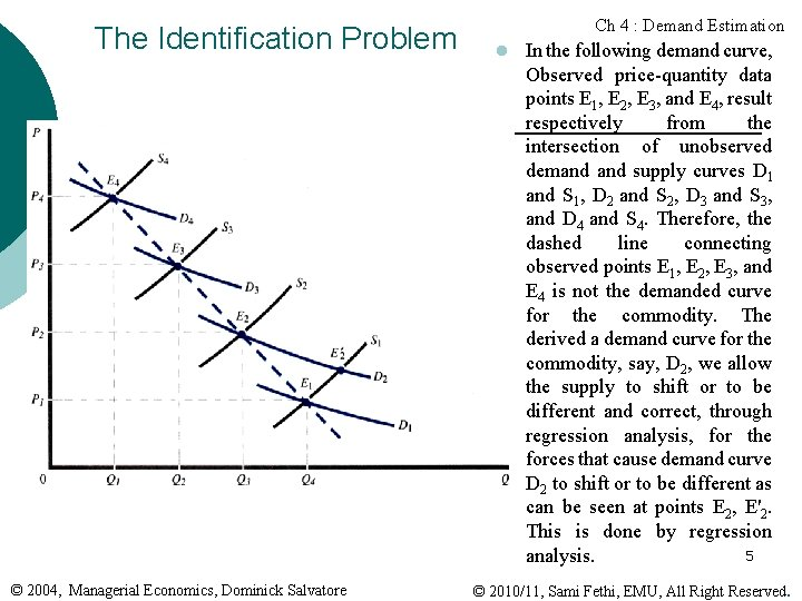 The Identification Problem © 2004, Managerial Economics, Dominick Salvatore Ch 4 : Demand Estimation