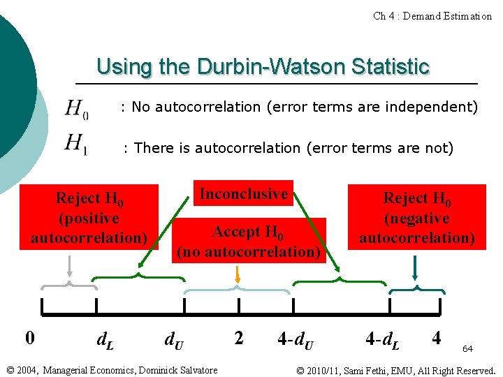 Ch 4 : Demand Estimation Using the Durbin-Watson Statistic : No autocorrelation (error terms
